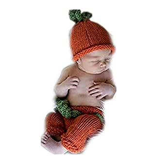 Vemonllas Fashion Unisex Newborn Girl Baby Outfits Halloween Pumpkin Set Photography Props Hat Pants (Dark Orange)