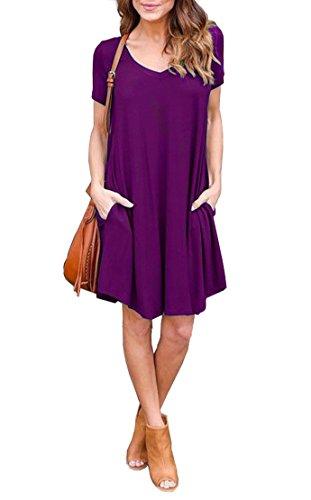 Jouica Womens Swing Short Sleeves Loose Comfy Flattering Dress (Purple S)