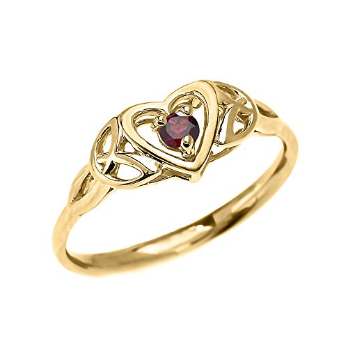 Dainty 14k Yellow Gold Trinity Knot Heart Solitaire Garnet Engagement and Proposal Ring (Size 6.5) ()