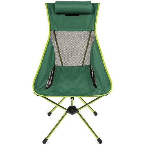 Cascade Mountain Tech Outdoor High Back Lightweight Camp Chair with Headrest and Carry Case – Green