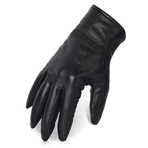 Vbiger Womens Leather Gloves Winter Gloves Cold Weather Warm Mittens Black (XL, Black)