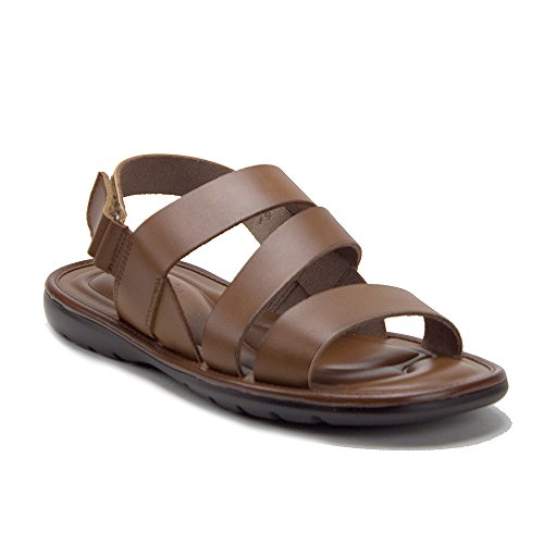 J'aime Aldo Men's 68732 Comfort Leather Gladiator Open Toe Sling Back Sandals, Cognac, 9.5