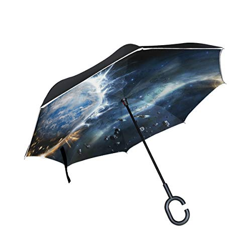- Ladninag Reverse Umbrella Space Galaxy Planets Inverted Umbrella Reversible for Golf Car Travel Rain Outdoor Black