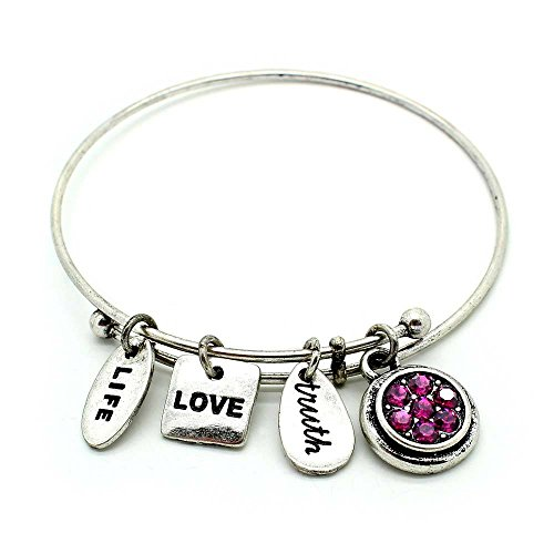 KIS-Jewelry Symbology 'February' Birthstone Bangle Bracelet, Silver Plated - Expandable Wire Charm Bracelet with Majestic Amethyst Color Crystals - Perfect Jewelry for Fashion
