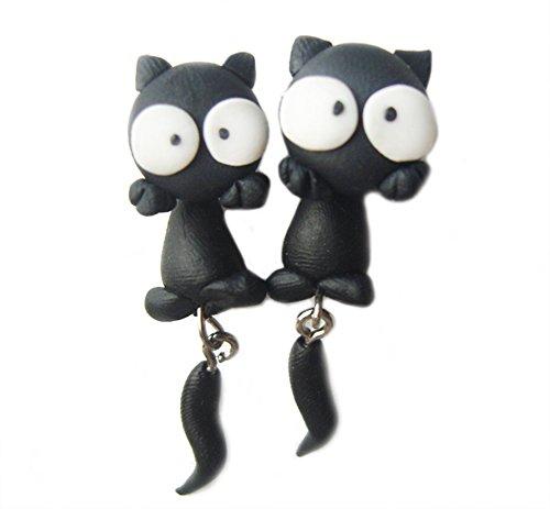 Scheppend Polymer Clay Cute Cartoon Cat Handmade Stud Earrings,White Eyes