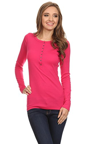 Simlu Henleys For Women Knit Henley Top Crew Neck Ribbed Women Long Sleeve T Shirt
