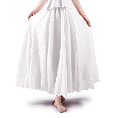 OCHENTA Women's Bohemian Elastic Waist Cotton Floor Length Skirt, Flowing Maxi Big Hem White 105CM