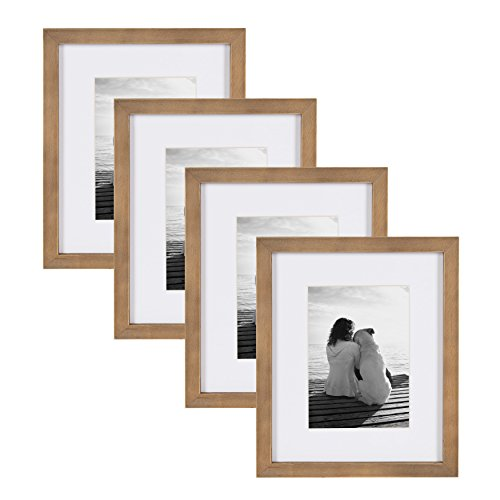 - DesignOvation Gallery Wood Photo Frame Set for Customizable Wall or Tabletop Display, Pack of 4, 8x10 matted to 5x7, Rustic Brown