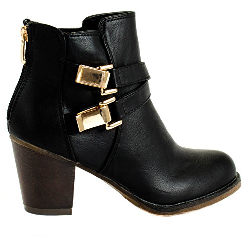 Amazon.com | Bella Marie Womens Cici-5 Faux Leather Chunky Heel Ankle Boots with Golden Buckles | Ankle & Bootie