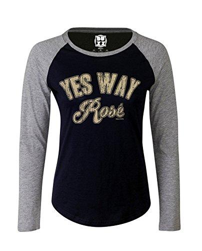Mujer Raglan Baseball Camiseta Yes way ROSE Wine funny señoras por Buzz Shirts Oxford Navy/Heather Grey