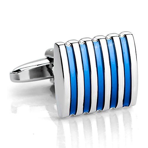 INBLUE Men's 2 PCS Rhodium Plated Cufflinks Silver Tone Blue Striped Shirt Wedding Business 1 Pair Set ()