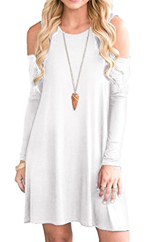 Neck Cut Out Dress (Women Cut Out Shoulder O Neck Casual Tshirt Dress White XL)