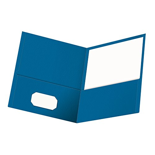 Oxford Twin-Pocket Folders, Textured Paper, Letter Size, Light Blue, Holds 100 Sheets, Box of 25 (57501EE)
