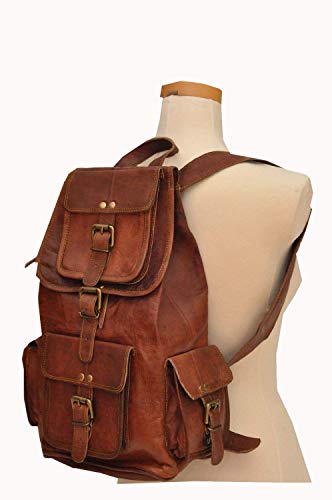 "HLC 20"" Genuine Leather Retro Rucksack Backpack College Bag,School Picnic Bag Travel"