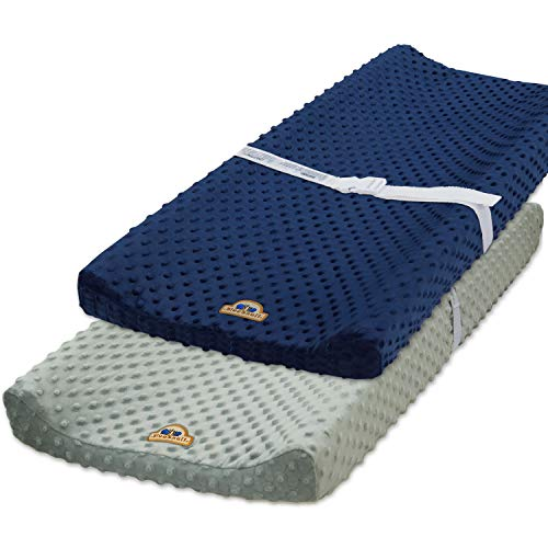 BlueSnail Ultra Soft Minky Dot Chaning Pad Cover 2 Pack (Gray+Navy, 2 Pack)