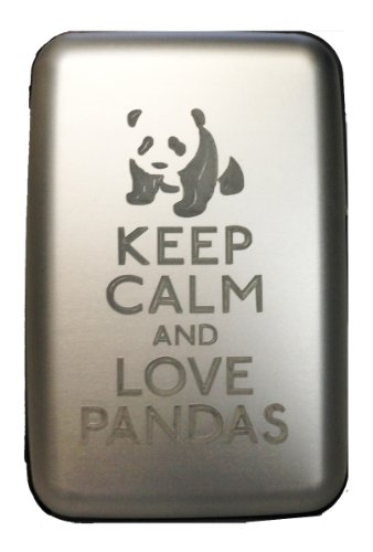 Keep Calm and Love Pandas - Silver Aluminum Hard Credit Card Wallet