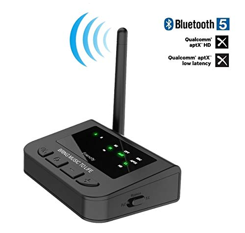 Friencity Long Range Bluetooth 5.0 Transmitter Receiver for TV,Wireless Audio Pass-Thru Adapter with AptX HD & Low Latency, Dual Stream,Digital Aux Optical,Always Play and Re-Connection
