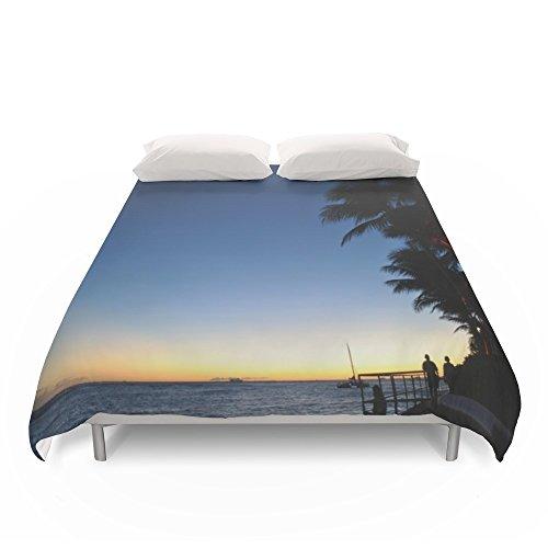 Society6 Hawaii Sunset Palm Tree Sea Duvet Covers King: 104'' x 88'' by Society6