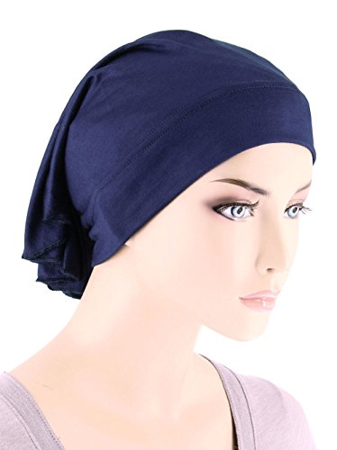Womens Ruffle Chemo Hat Beanie Scarf, Turban Head Wrap for Cancer Navy Blue