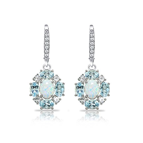 Sterling Silver Simulated Opal and Blue Topaz Oval Leverback Earrings with White Topaz ()