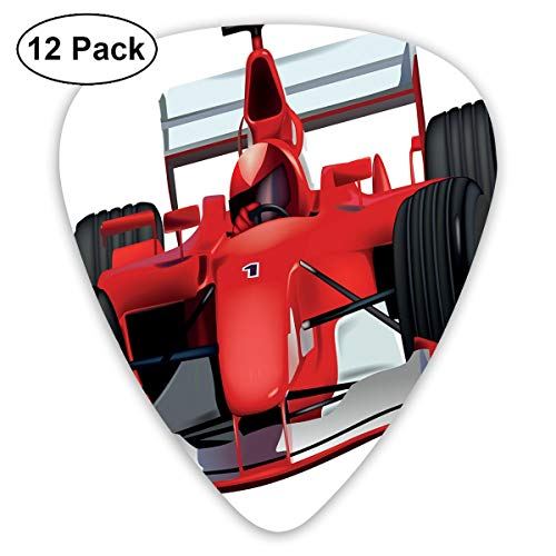 Guitar Picks - Abstract Art Colorful Designs,Formula Race Car The Driver Automobile Motorized Sports Theme Strong Engine,Unique Guitar Gift,For Bass Electric & Acoustic Guitars-12 Pack