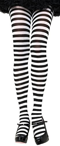 ToBeInStyle Women's Nylon Horizontal Striped Tights - Black/White - Plus