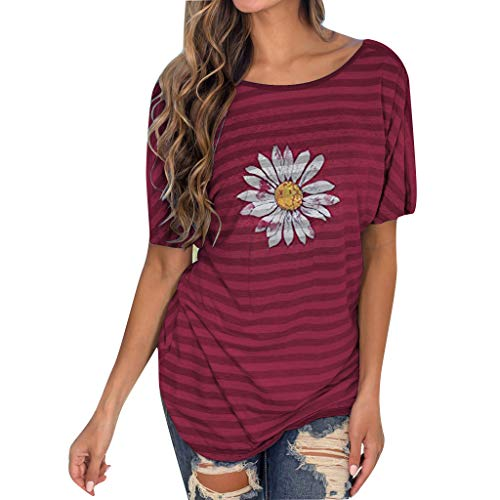Yellsong T-Shirts for Women,Striped Print Loose Comfort and No Sense of Glamorous Unique Backless Sexy T-Shirt Top
