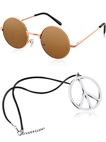 Tatuo Hippie Dressing Accessory Set Hippie Glasses and Peace Sign Necklace (Dark Brown)