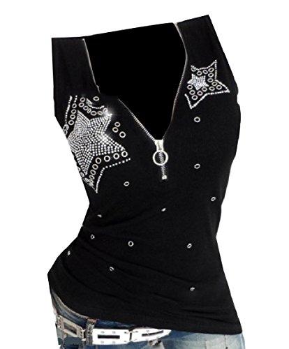 Fseason-Women Sequin Glitter Zipper Slim Casual Workout Rhinestones Camisole Black (Black Rhinestone Tank)
