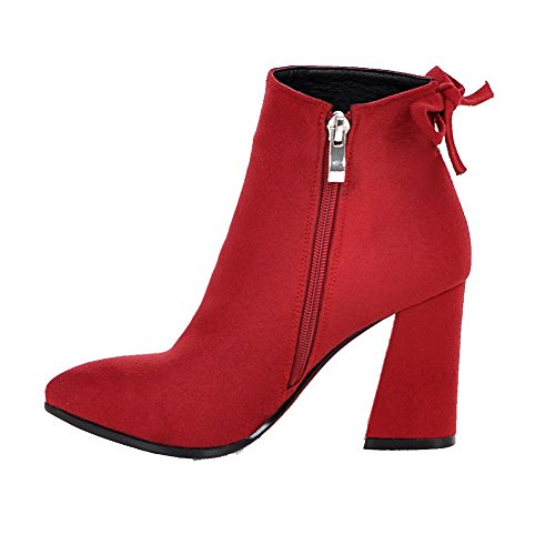 Closed Womens Heels AllhqFashion High Pointed Red Toe Solid Boots Suede Zipper Imitated wXqdqtfU