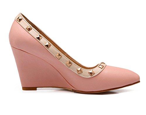 YE Damen Elegant Bequeme Wedges High Heels Spitze Pumps mit Keilabsatz und Nieten 8cm Absatz Schuhe Rosa