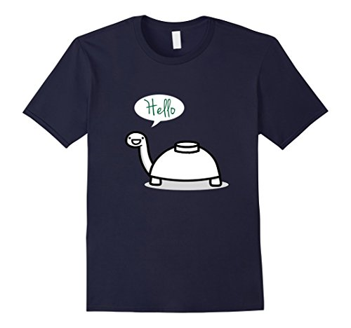 Mens Mine Turtle Stops By To Say Hello T Shirt Small Navy