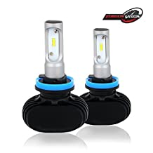 TERRAIN VISION H8/H9/H11 LED Headlight Bulb - 8000LM 6500K Cool White 50W Conversion Kit Replaces Halogen & HID Bulbs Automotive Driving Headlamp & Pair Error Free Decoder - 1 Year Warranty