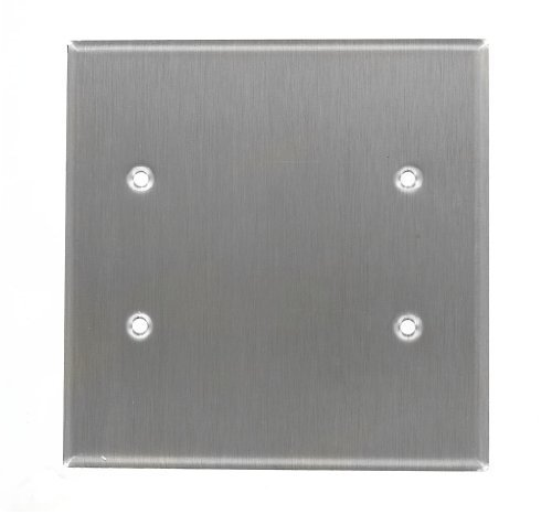 Leviton 84125-40 2-Gang No Device Blank Wallplate, Oversized, Box Mount, Stainless Steel