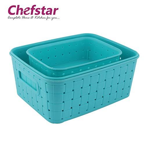 Chefstar Smart Baskets for Storage Set of 3 Pieces, Sky Blue