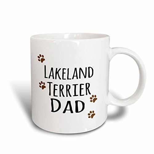 3dRose mug_153939_1 Lakeland Terrier Dog Dad Doggie By Breed Brown Muddy Paw Prints Doggy Lover Pet Owner Love Ceramic Mug, 11-Ounce