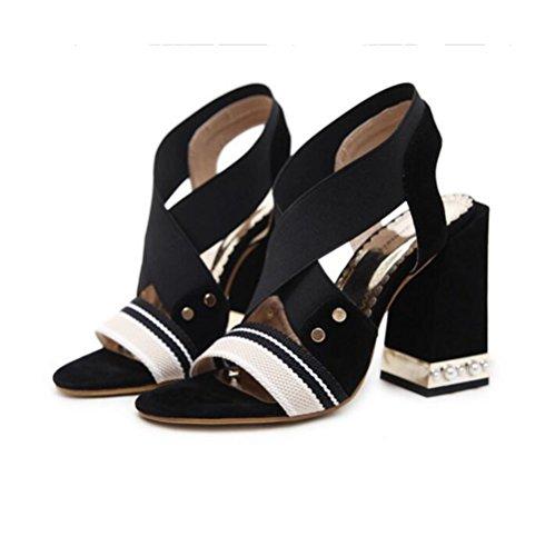 Multicolor Xdgg Été Black Femmes Rough Mode Ouvrir Talons Hauts Toe Creux 2018 Bouche Chaussures Confortable Splice Poisson Nouvelles Sandales 7rAxw7q5