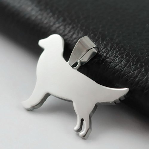 Stainless Steel Golden Retriever Silhouette Pet Dog Tag Breed Collar Charm Pendant - Retriever Silhouette