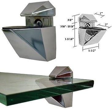 Glass shelf with polished nickel brackets