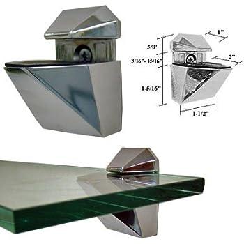 Amazon Com Brushed Nickel Adjustable Glass Or Wood Shelf Brackets Pair Home