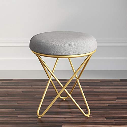 Round Home Folding Stool, 17.7-Inch Collapsible Padded Vanity Makeup Stool, Nordic Creative Modern Simple Ottoman Shoe Bench (Color : Gold)