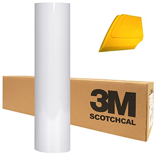 """3M Scotchcal Electrocut Gloss White Adhesive Graphic Vinyl Film 12"""" x 24"""" Roll for Cricut, Cameo & Silhouette Machines Including Hard Yellow Detailer Squeegee (2 Rolls)"""