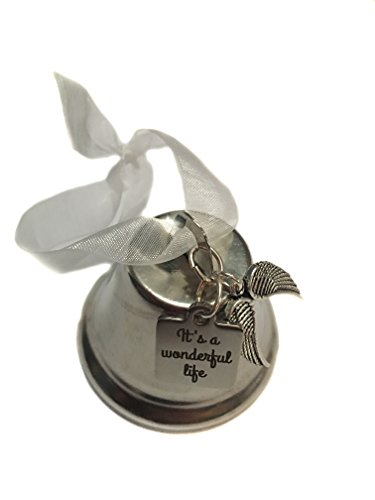 ''It's A Wonderful Life'' Movie Inspired, Double Angel Wing Charm Bell 2'' Ornament, Classic Christmas Gift by Angel Essentials