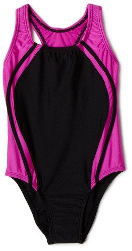 UPC 827782450782, Speedo Big Girls'  Sport Splice Solid Swimsuit,Black/Pink,16