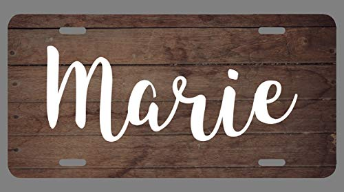 JMM Industries Marie Name Wood Style License Plate Tag Vanity Novelty Metal 6-Inches by 12-Inches Premium Quality UV Printed NP0255