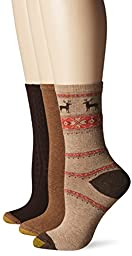 Gold Toe Women\'s Nordic Deer Winter Fashion Sock, Winter Khaki/British Khaki/Brown, 9-11 (Pack of 3)