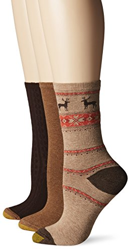 Gold Toe Women's Nordic Deer Winter Fashion Sock, Winter Khaki/British Khaki/Brown, 9-11 (Pack of 3)