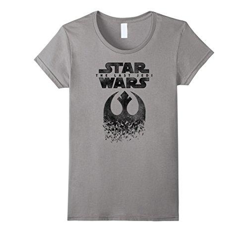 Womens Star Wars Last Jedi Rebel Logo Disintegrated Graphic T-Shirt Medium Slate