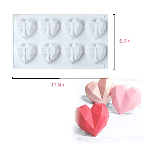 2 Pack Diamond Heart Shaped Silicone Chocolate Mold Set with Decorating Mouth Tool Set. 8 Cavities Non-stick Easy Release Geometric Heart Cake Mold for Mousse Cake Baking, Hot Chocolate Cocoa Bombs.