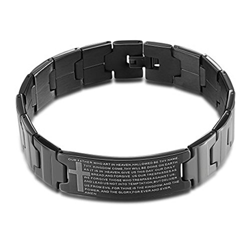 LF Men's 316L Stainless Steel IP Black Plated Cross Bible Verse Bracelet Lord's Prayer Buddhist Link Bracelet Christian Jewelry for Boyfriend Husband Dad for Fathers Day Birthday Gift